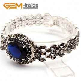 G10030 Sapphire Blue New Arrivals Fashion Jewelery Marcasite Link Bracelet for Ladies Tibetan Sliver Fashion Jewelry Jewellery Bracelets  for women