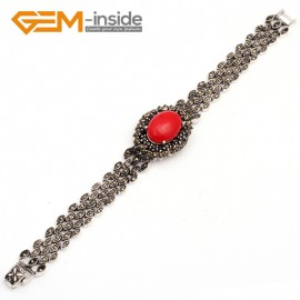 """G10032 Semi Red Coral Fashion Oval Jewelry Link Bracelet Beads Tibetan Silver Marcasite 25mmx30mmx7""""  Fashion Jewelry Jewellery Bracelets  for women"""