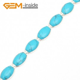 "G10037 Semi Blue Turquoise Fashion Jewelry Link Bracelet Tennis Stone Beads Tibetan Silver Plated12x20mmx7"" Fashion Jewelry Jewellery Bracelets  for women"