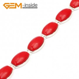 """G10039 Semi Red Coral Fashion Jewelry Link Bracelet Tennis Stone Beads Tibetan Silver Plated12x20mmx7"""" Fashion Jewelry Jewellery Bracelets  for women"""