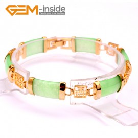 """G10046 Light Green Jade New Arrivals Fashion Jewelry Link Bracelet Rectangle Stone Beads Gold Plated 7"""" Fashion Jewelry Jewellery Bracelets  for women"""