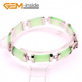 "G10053 Light Green Jade Fashion Jewelry Link Jade Bracelet Rectangle Stone Beads Gold Plated 10x19mmx7"" Fashion Jewelry Jewellery Bracelets  for women"