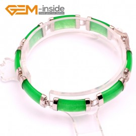 "G10055 Dark Green Jade Fashion Jewelry Link Jade Bracelet Rectangle Stone Beads Gold Plated 10x19mmx7"" Fashion Jewelry Jewellery Bracelets  for women"