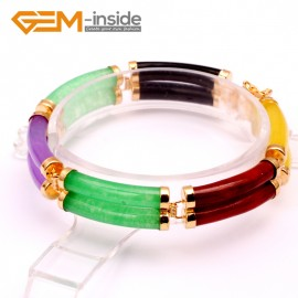 "G10056 Mixed Color Fashion Jewelry Link Bracelet Tube Stone Beads Gold Plated Giftware 11x21mmx7"" Fashion Jewelry Jewellery Bracelets  for women"