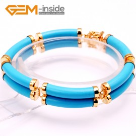 "G10058 Semi Turquoise (Gold  Plated) Fashion Jewelry Link Bracelet Tube Stone Beads Gold Plated Giftware 11x21mmx7"" Fashion Jewelry Jewellery Bracelets  for women"