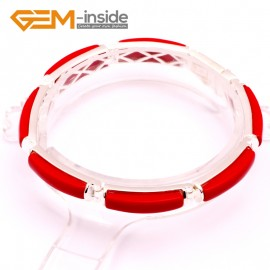 "G10061 Semi Red Coral Fashion Jewelry Stone Beads Link Bracelet Tibetan Silver Plated 7"" Gbeads Fashion Jewelry Jewellery Bracelets  for women"