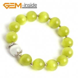 G10125 Yellow Green 12mm Handmade Multicolor Round Cat Eye's Beads Stretchy Bracelet Pick Fashion Jewelry Jewellery Bracelets  for women
