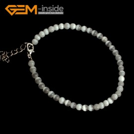 G10127 White With Clasp 4mm Handmade Multicolor Round Cat Eye's Beads Stretchy Bracelet Pick Fashion Jewelry Jewellery Bracelets  for women