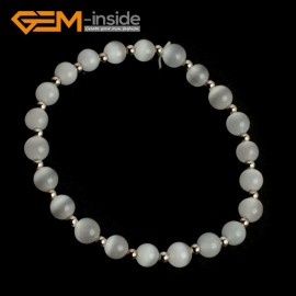 G10128 White 6mm Handmade Multicolor Round Cat Eye's Beads Stretchy Bracelet Pick Fashion Jewelry Jewellery Bracelets  for women