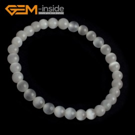 G10129 White 6mm Handmade Multicolor Round Cat Eye's Beads Stretchy Bracelet Pick Fashion Jewelry Jewellery Bracelets  for women