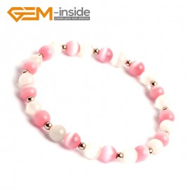 G10145 Pink&White 6mm Handmade Multicolor Round Cat Eye's Beads Stretchy Bracelet Pick Fashion Jewelry Jewellery Bracelets  for women