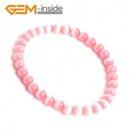 G10146 Pink 6mm Handmade Multicolor Round Cat Eye's Beads Stretchy Bracelet Pick Fashion Jewelry Jewellery Bracelets  for women