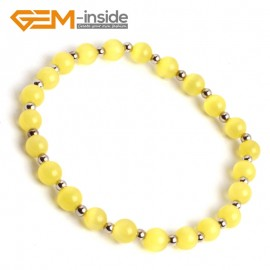 G10167 Yellow 6mm Handmade Multicolor Round Cat Eye's Beads Stretchy Bracelet Pick Fashion Jewelry Jewellery Bracelets  for women