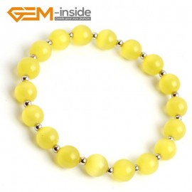 G10169 Yellow 8mm Handmade Multicolor Round Cat Eye's Beads Stretchy Bracelet Pick Fashion Jewelry Jewellery Bracelets  for women