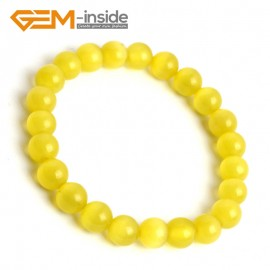 G10170 Yellow 8mm Handmade Multicolor Round Cat Eye's Beads Stretchy Bracelet Pick Fashion Jewelry Jewellery Bracelets  for women