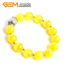 G10173 Yellow With White 12mm Handmade Multicolor Round Cat Eye's Beads Stretchy Bracelet Pick Fashion Jewelry Jewellery Bracelets  for women