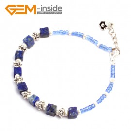 "G10196 Lapis Lazuli 4mm Cubic Gemstone Beads Handmade Bracelet 7 1/2"" XMAS New Fashion Jewelry Fashion Jewelry Jewellery Bracelets  for women"