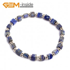 "G10197 Lapis Lazuli 4mm Cubic Gemstone Beads Handmade Bracelet 7 1/2"" XMAS New Fashion Jewelry Fashion Jewelry Jewellery Bracelets  for women"