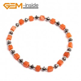 "G10201 Red Aventurine 4mm Cubic Gemstone Beads Handmade Bracelet 7 1/2"" XMAS New Fashion Jewelry Fashion Jewelry Jewellery Bracelets  for women"