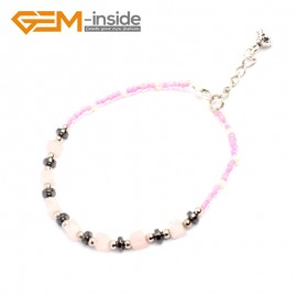 "G10204 Rose Quartz 4mm Cubic Gemstone Beads Handmade Bracelet 7 1/2"" XMAS New Fashion Jewelry Fashion Jewelry Jewellery Bracelets  for women"