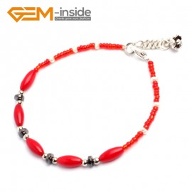 "G10214 6x9mm  Olivary Red Pink Coral Beads Handmade Strechy Bracelet 7.5"" Adjustable Fashion Jewelry Jewellery Bracelets  for women"