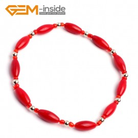 "G10215 6x9mm  Olivary Red Pink Coral Beads Handmade Strechy Bracelet 7.5"" Adjustable Fashion Jewelry Jewellery Bracelets  for women"