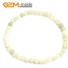 "G10221 Huashow Jade 4mm Round Gemstone Beads Handmade Stretchy Bracelet 7 1/2"" Adjustable Gbeads Fashion Jewelry Jewellery Bracelets  for women"