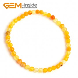 "G10227 Yellow Crackle Faceted Agate 4mm Round Gemstone Beads Handmade Stretchy Bracelet 7 1/2"" Adjustable Gbeads Fashion Jewelry Jewellery Bracelets  for women"