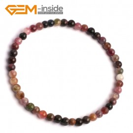 "G10231 Tourmaline 4mm Round Gemstone Beads Handmade Stretchy Bracelet 7 1/2"" Adjustable Gbeads Fashion Jewelry Jewellery Bracelets  for women"