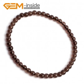 "G10242 Smoky Quartz 4mm Round Gemstone Beads Handmade Stretchy Bracelet 7 1/2"" Adjustable Gbeads Fashion Jewelry Jewellery Bracelets  for women"