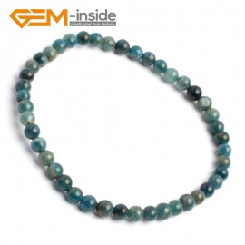 "G10244 Kyanite 4mm Round Gemstone Beads Handmade Stretchy Bracelet 7 1/2"" Adjustable Gbeads Fashion Jewelry Jewellery Bracelets  for women"