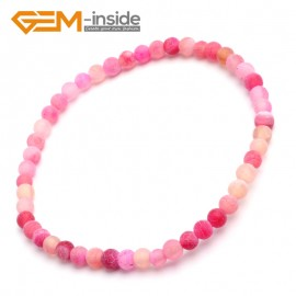"G10247 Plum Crackle Frost Agate 4mm Round Gemstone Beads Handmade Stretchy Bracelet 7 1/2"" Adjustable Gbeads Fashion Jewelry Jewellery Bracelets  for women"