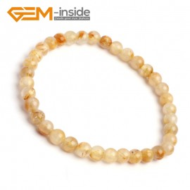 "G10251 5mm Rutilated Quartz Round Gemstone Beads Handmade Stretchy Bracelet 7 1/2"" Adjustable Gbeads Fashion Jewelry Jewellery Bracelets  for women"