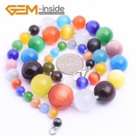 "G10260 6-16mm Mixed Cat Eye 18"" Handmade Graduated Necklace Beads 17-22 Inches Selectable XMAS Jewelry Gemstone Birthstone Necklaces Fashion Jewelry Jewellery"