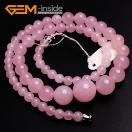 "G10261 6-14mm Rose Jade 18"" Handmade Graduated Necklace Beads 17-22 Inches Selectable XMAS Jewelry Gemstone Birthstone Necklaces Fashion Jewelry Jewellery"