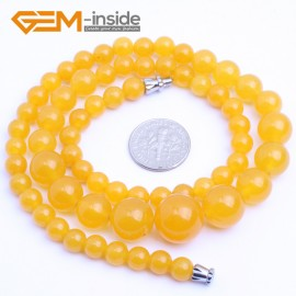 "G10262 6-14mm Yellow Jade 18"" Handmade Graduated Necklace Beads 17-22 Inches Selectable XMAS Jewelry Gemstone Birthstone Necklaces Fashion Jewelry Jewellery"