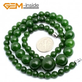 "G10263 6-14mm Green Jade 18"" Handmade Graduated Necklace Beads 17-22 Inches Selectable XMAS Jewelry Gemstone Birthstone Necklaces Fashion Jewelry Jewellery"