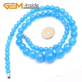 "G10268 6-14mm Light Blue Jade 17.5"" Handmade Graduated Necklace Beads 17-22 Inches Selectable XMAS Jewelry Gemstone Birthstone Necklaces Fashion Jewelry Jewellery"