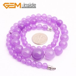 """G10269 6-14mm Light Purple Jade 17.5"""" Handmade Graduated Necklace Beads 17-22 Inches Selectable XMAS Jewelry Gemstone Birthstone Necklaces Fashion Jewelry Jewellery"""