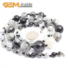 """G10279 6-16mm Black Rutilated 22"""" Handmade Graduated Necklace Beads 17-22 Inches Selectable XMAS Jewelry Gemstone Birthstone Necklaces Fashion Jewelry Jewellery"""