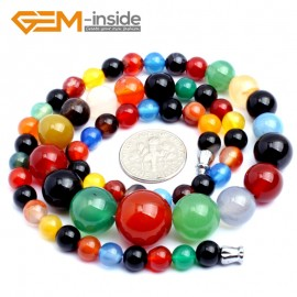 """G10282 6-14mm Muticolor Agate 17"""" Handmade Graduated Necklace Beads 17-22 Inches Selectable XMAS Jewelry Gemstone Birthstone Necklaces Fashion Jewelry Jewellery"""