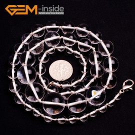 """G10289 6-16mm White Quartz 22"""" Handmade Graduated Necklace Beads 17-22 Inches Selectable XMAS Jewelry Gemstone Birthstone Necklaces Fashion Jewelry Jewellery"""
