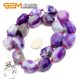 "G10296 15X18mm Faceted Purple Agate 18"" Freeform Jewelry Handmade Necklace Beads 18-19 Inches Selectable XMAS Jewelry  Gemstone Birthstone Necklaces Fashion Jewelry Jewellery"