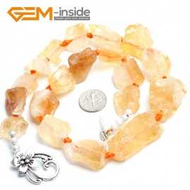 "G10310 16X18-25X25mm Citrine 18"" Freeform Jewelry Handmade Necklace Beads 18-19 Inches Selectable XMAS Jewelry  Gemstone Birthstone Necklaces Fashion Jewelry Jewellery"