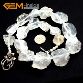 "G10312 13X18-18X30mm White Rock Quartz 18"" Freeform Jewelry Handmade Necklace Beads 18-19 Inches Selectable XMAS Jewelry  Gemstone Birthstone Necklaces Fashion Jewelry Jewellery"