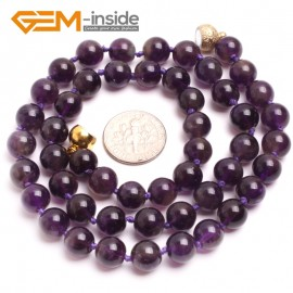 "G10324 8mm Dark Amethyst 18""Natural Smooth Round Gemstone Beads Handmade Finished Jewelry Necklace 17.5-20"" Gemstone Birthstone Necklaces Fashion Jewelry Jewellery"