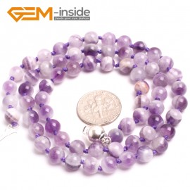 """G10333 6mm Dream Lace Amethyst 20"""" Natural Smooth Round Gemstone Beads Handmade Finished Jewelry Necklace 17.5-20"""" Gemstone Birthstone Necklaces Fashion Jewelry Jewellery"""
