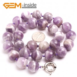 """G10337 14mm Dream Lace Amethyst 20"""" Natural Smooth Round Gemstone Beads Handmade Finished Jewelry Necklace 17.5-20"""" Gemstone Birthstone Necklaces Fashion Jewelry Jewellery"""