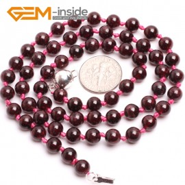 "G10338 6mm Garnet 20""Natural Smooth Round Gemstone Beads Handmade Finished Jewelry Necklace 17.5-20"" Gemstone Birthstone Necklaces Fashion Jewelry Jewellery"
