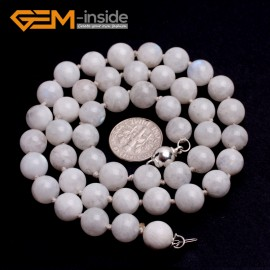 "G10344 8mm Moonstone 20"" Natural Smooth Round Gemstone Beads Handmade Finished Jewelry Necklace 17.5-20"" Gemstone Birthstone Necklaces Fashion Jewelry Jewellery"